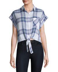 Rails Amelie Front-tie Plaid Shirt - Blue