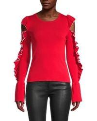 Maje Cutout Ruffled-sleeve Jumper - Red