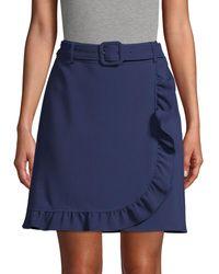 Karl Lagerfeld Belted Faux Wrap Skirt - Blue