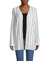 T Tahari Striped Open-front Cardigan - White