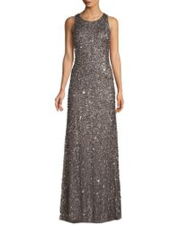 Adrianna Papell - Sequined Crunchy Halter Dress - Lyst