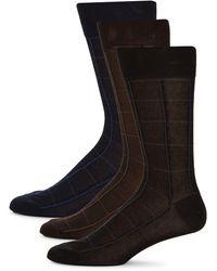 Saks Fifth Avenue 3-pack Windowpane Check Crew Socks - Brown