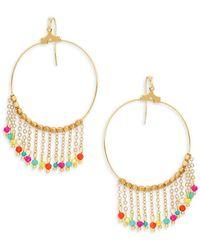 Panacea Goldplated Multi-color Crystal Chain Tassel Hoop Earrings - Metallic