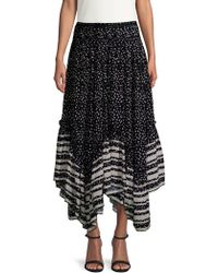 Love Sam - Woman Pleated Printed Washed-crepe Midi Skirt Black - Lyst