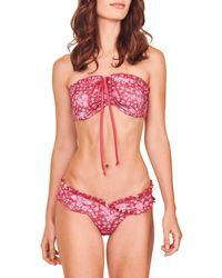 LoveShackFancy Women's Jewel Two-piece Floral Bikini Set - Sunset Pink - Size Xs