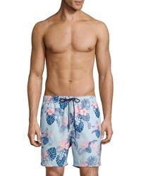 Tommy Bahama Men's Naples Casa Rosa Tropical-print Swim Trunks - Shell - Size Xxl - Blue
