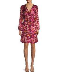 Ava & Aiden Twist Knot Floral Dress - Red