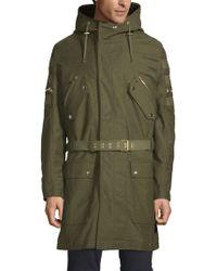 Balmain Patchwork Hooded Coat - Green