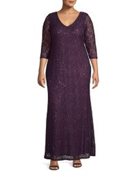 Marina - Plus V-neck Lace Column Gown - Lyst