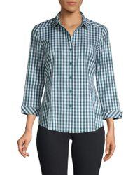 Lafayette 148 New York Janessa Gingham Shirt - Blue