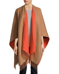 Saks Fifth Avenue Black Merino Wool Cape - Orange