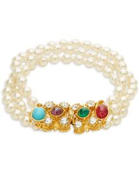Ben-Amun - Crystal And Faux Pearl Bracelet - Lyst
