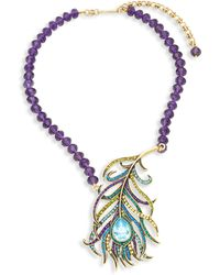Heidi Daus Beaded Crystal Feather Pendant Necklace - Multicolor