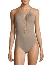 La Blanca - Island Goddess Lace-up Mio One-piece Swimsuit - Lyst