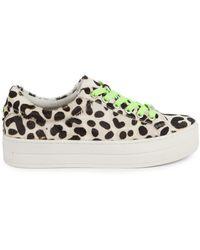 J/Slides Hippie Neon Calf Hair Platform Sneakers - Multicolor