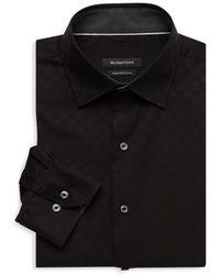 Bugatchi Regular-fit Check Dress Shirt - Black