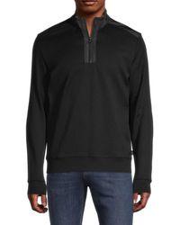 BOSS by Hugo Boss Men's Sidney Quarter-zip Pullover - Black - Size M