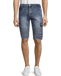 Xray Jeans Moto Denim Cargo Shorts - Blue