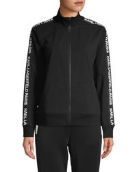 Karl Lagerfeld Logo Tape Full-zip Stretch-cotton Sweater - Black