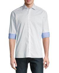 Bertigo Massimo Printed Cotton Poplin Shirt - White