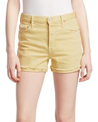 Mother Frayed-cuff Denim Shorts - Yellow