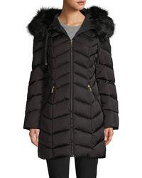 Tahari Faux Fur-trim Chevron Puffer Down Coat - Black