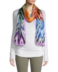 Missoni Rainbow 2 Jagged Diamond Print Silk Scarf - Multicolor