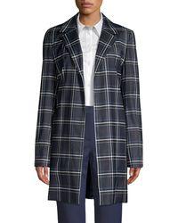 Lafayette 148 New York Kidman Windowpane Virgin Wool-blend Jacket - Blue