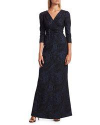 Teri Jon Embellished Jacquard Puff-sleeve Gown - Blue