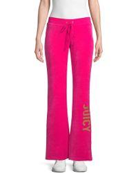 Juicy Couture Logo Velour Sweatpants - Pink