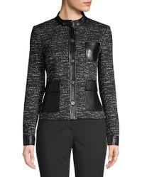 Calvin Klein Faux Leather-trimmed Tweed Jacket - Black