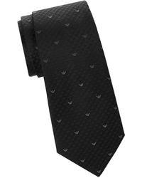Armani Men's Silk Print Tie - Solid Blue