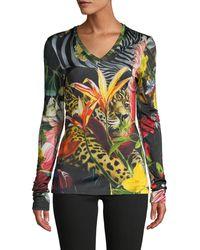 Roberto Cavalli Botanical-print Long-sleeve Top - Multicolour