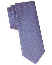 Ferragamo Men's Geometric Embroidered Silk Tie - Blue