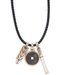 John Hardy Sterling Silver Bamboo Pendant Necklace - Black