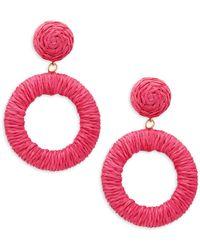 Panacea Rope Circle Drop Earrings - Yellow