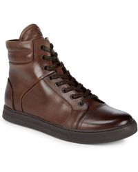 Kenneth Cole - Round Toe Leather Ankle Boots - Lyst