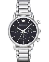 Emporio Armani Round Stainless Steel Chronograph Watch - Metallic