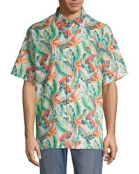 Tommy Bahama Men's Breakwave Fronds Short-sleeve Button Down Shirt - Coconut Cream - Size L - Green