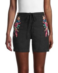 Johnny Was Women's Imani Linen Shorts - Black - Size Xs
