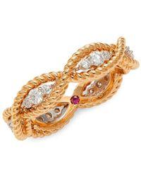 Roberto Coin 18k Rose Gold, 18k White Gold & Diamond Rope Ring - Metallic