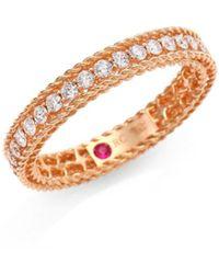 Roberto Coin Symphony 18k Rose Gold & Diamond Braided Eternity Ring/size 6.5 - Metallic