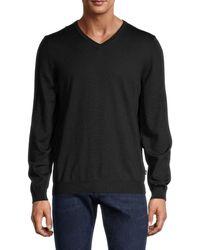 BOSS by Hugo Boss Men's V-neck Wool Sweater - Black - Size S