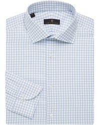 Ike Behar Regular-fit Check Dress Shirt - Blue