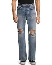 DIESEL Men's Distressed Straight-leg Jeans - Denim - Size 36 32 - Blue