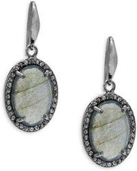 Bavna - Labradorite Champagne Diamond Drop Earrings - Lyst