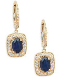 Effy - Diamond & Sapphire 14k Yellow Gold Drop Earrings - Lyst
