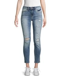 Flying Monkey Mid-rise Distressed Ankle Jeans - Blue