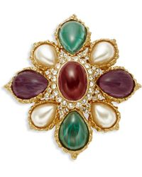 Ben-Amun Crystal And Faux Pearl Brooch - Multicolour