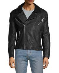 ELEVEN PARIS Faux Fur-collar Full-zip Moto Jacket - Black